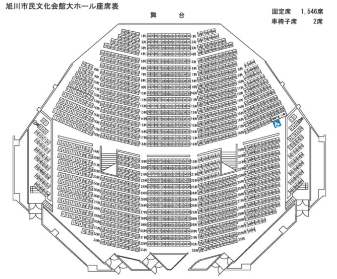 旭川市民文化会館大ホール座席表・座席図