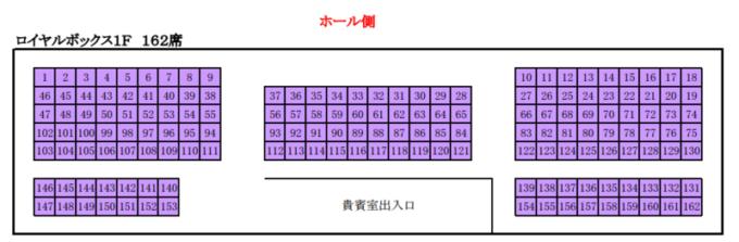 真駒内セキスイハイムアイスアリーナ座席図ロイヤルボックス席1F