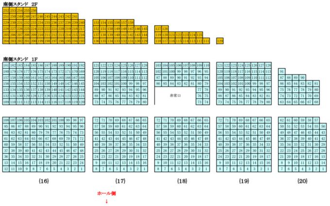 真駒内セキスイハイムアイスアリーナ座席図南側スタンド席1F・2F(西側)