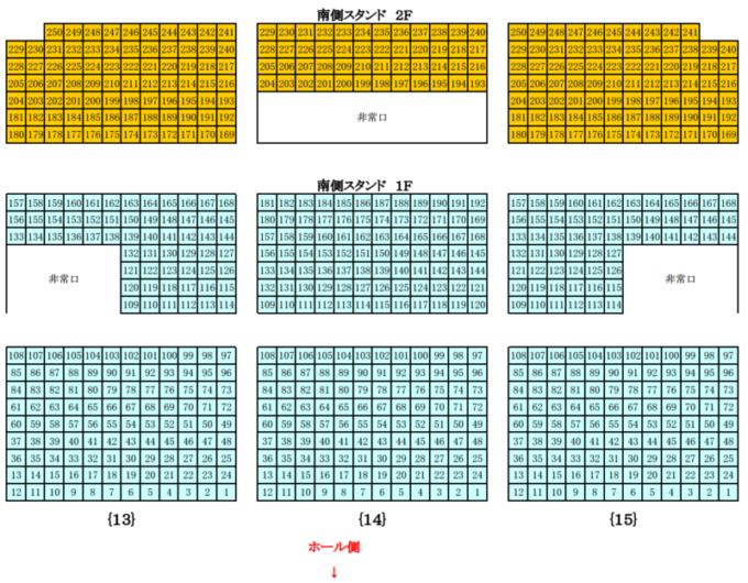 真駒内セキスイハイムアイスアリーナ座席図南側スタンド席1F・2F(中央)