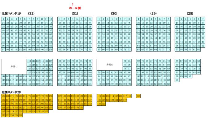 真駒内セキスイハイムアイスアリーナ座席図北側スタンド席1F・2F(西側)