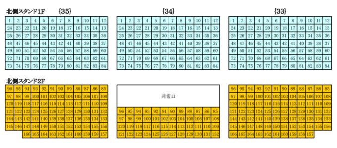 真駒内セキスイハイムアイスアリーナ座席図北側スタンド席1F・2F(中央)