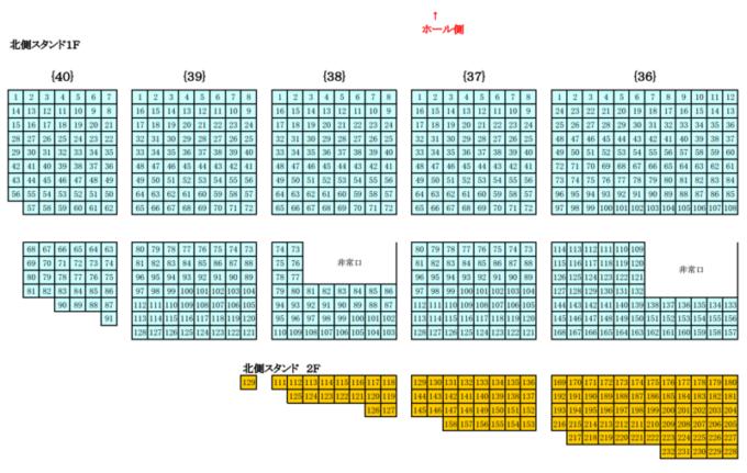 真駒内セキスイハイムアイスアリーナ座席図北側スタンド席1F・2F(東側)