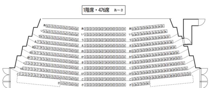 わくわくホリデーホール1階席の座席表・座席図