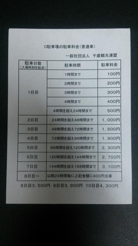 駐車料金案内表