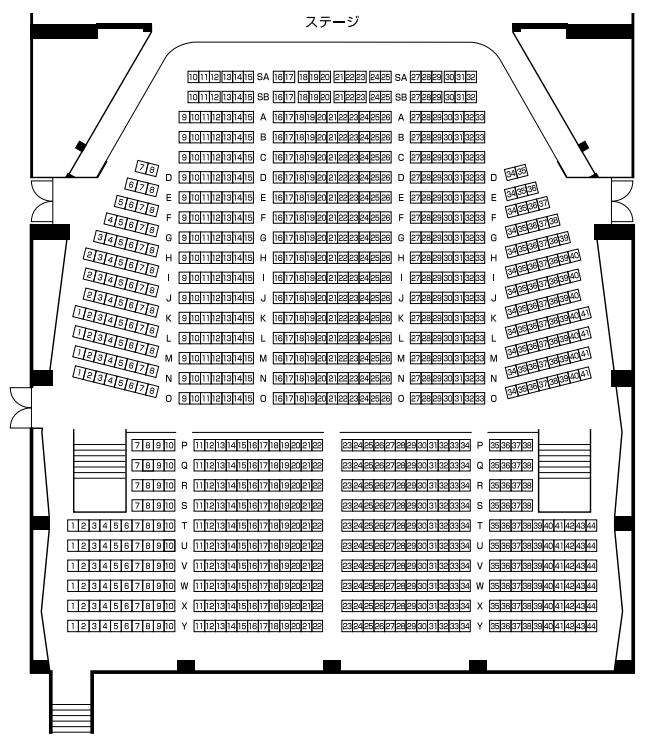 網走市民会館の座席表・座席図