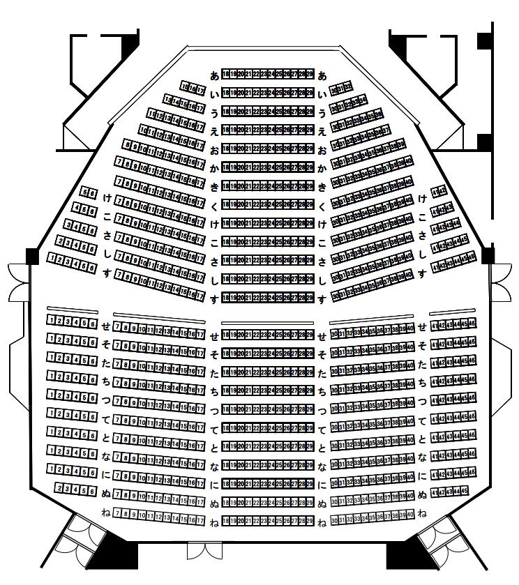 芦別市民会館の座席表・座席図
