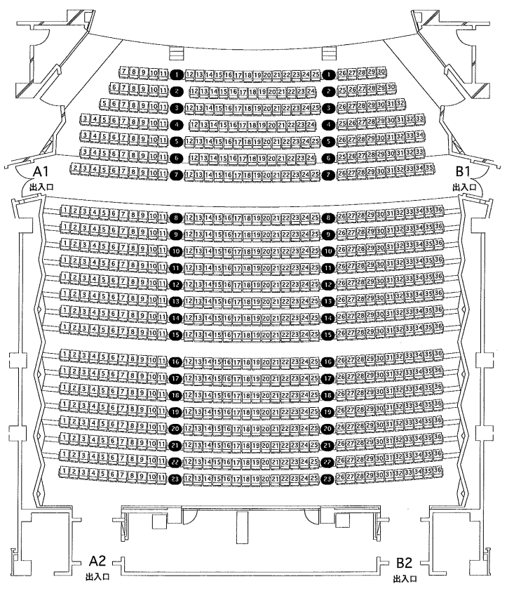 まなみーる(岩見沢市民会館・文化センター)大ホール(市民会館)1階席・2階席の座席表・座席図