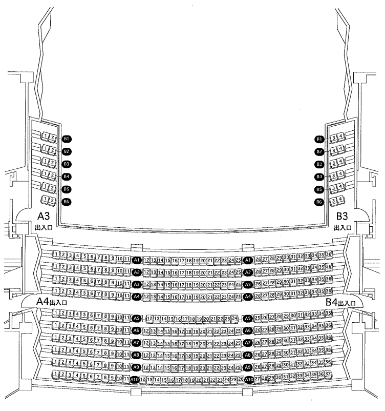 まなみーる(岩見沢市民会館・文化センター)大ホール(市民会館)3階席の座席表・座席図