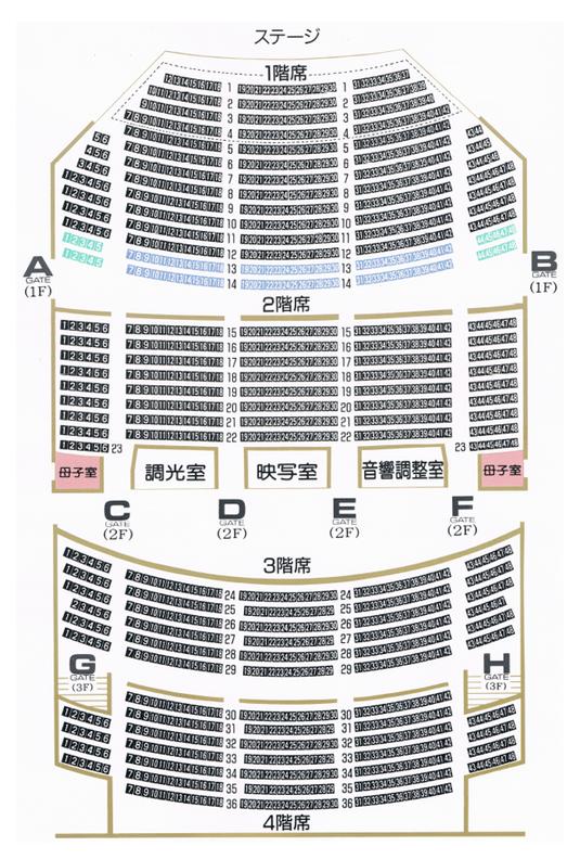 帯広市民文化ホールの座席表・座席図(大ホール)