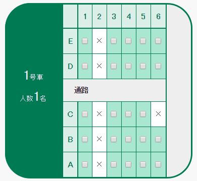 北海道新幹線1号車座席表