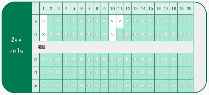 北海道新幹線2号車座席表