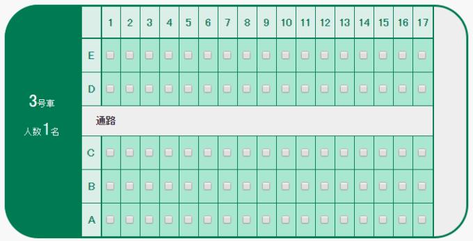 北海道新幹線3号車座席表