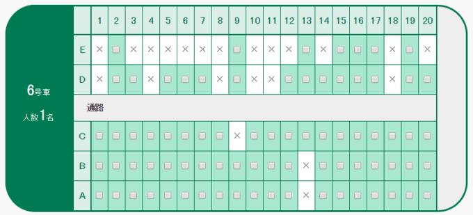 北海道新幹線6号車座席表