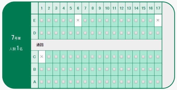 北海道新幹線7号車座席表