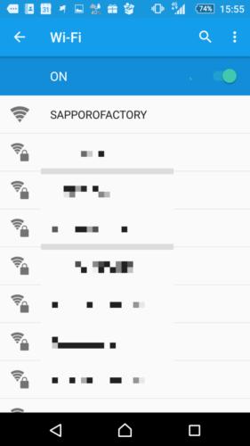 SSID「SAPPOROFACTORY」を選択。