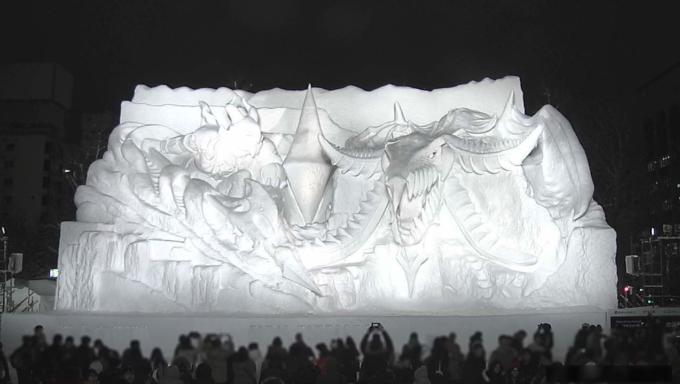 大通公園4丁目 STV広場「ファイナルファンタジーXIV白銀の決戦雪像」