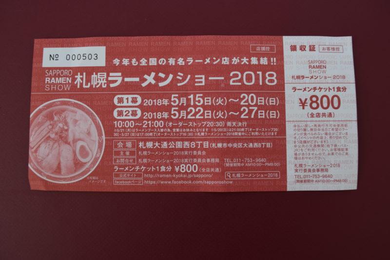札幌ラーメンショー2018のラーメンチケット