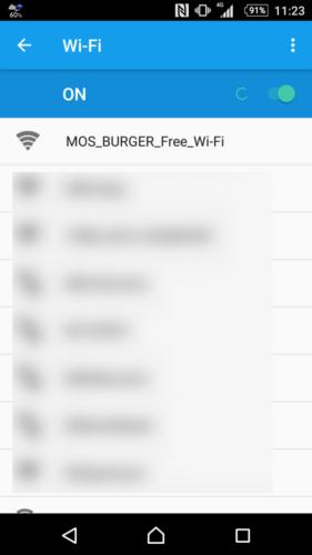 SSID「MOS_BURGER_Free_Wi-Fi」を選択。