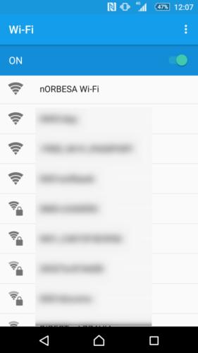 SSID「nORBESA Wi-Fi」を選択。