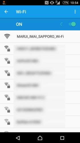 SSID「MARUI_IMAI_SAPPORO_Wi-Fi」を選択。