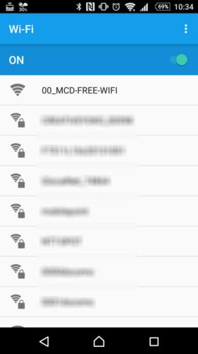 SSID「00_MCD-FREE-WIFI」を選択。