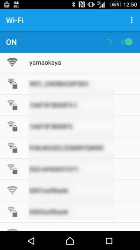 SSID「yamaokaya」を選択。