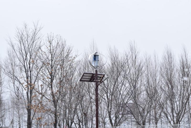 庭園付近にある光と風のハイブリッド街路灯「風照(かぜてらす)」の風力発電機