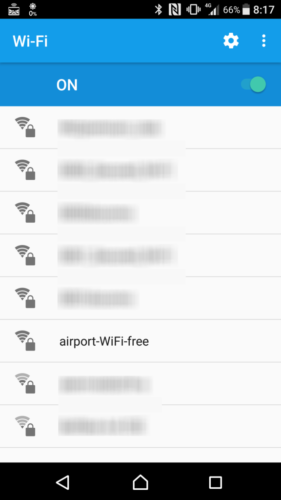 SSID「airport-WiFi-free」を選択。