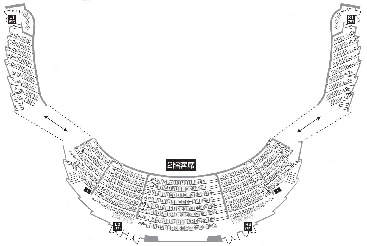 札幌文化芸術劇場「hitaru」2階座席表・座席図
