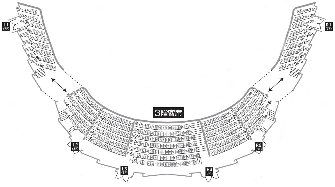 札幌文化芸術劇場「hitaru」3階座席表・座席図