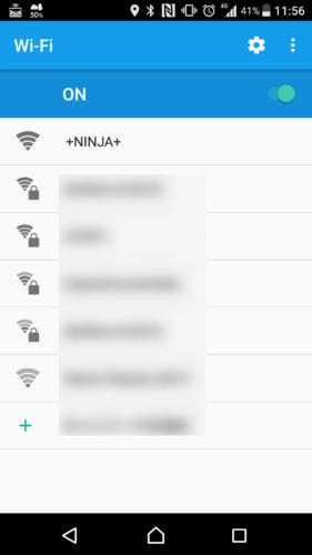 SSID「+NINJA+」を選択。