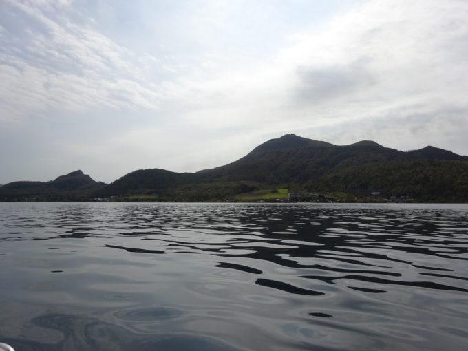 スワンボートからの有珠山、昭和新山方面