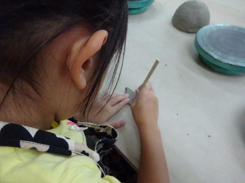 余った粘土で練習