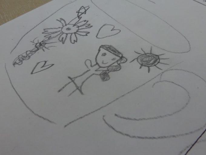 マグカップにデザインするイメージを描きます