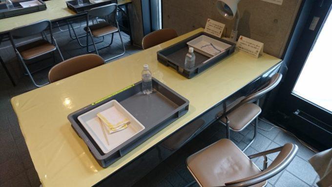 受付後にテーブルに移動