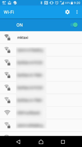 SSID「mktaxi」を選択。