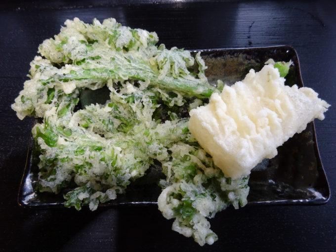 わさび菜と餅天ぷら