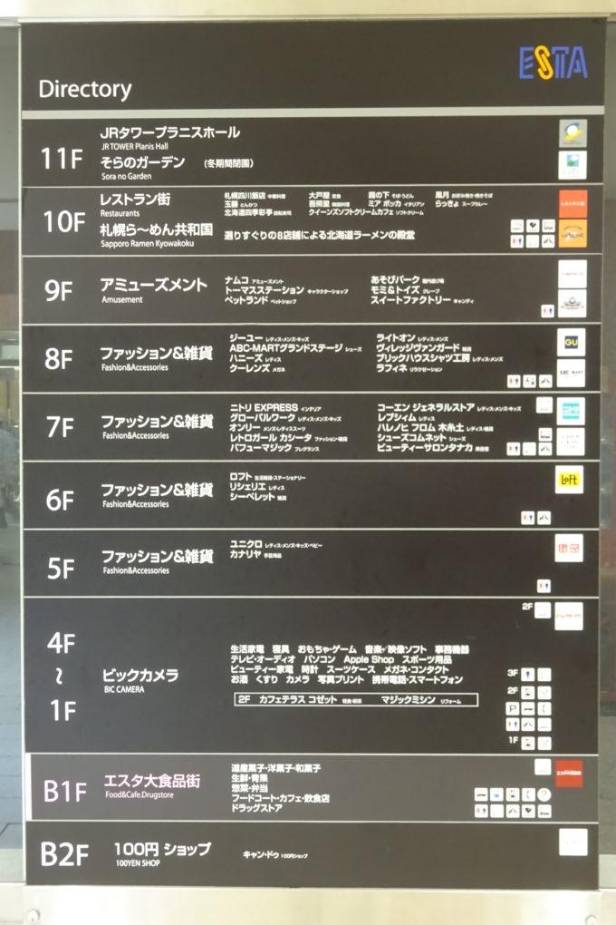 JRタワーエスタ各階地図