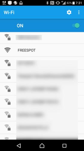 SSID「FREESPOT」を選択。