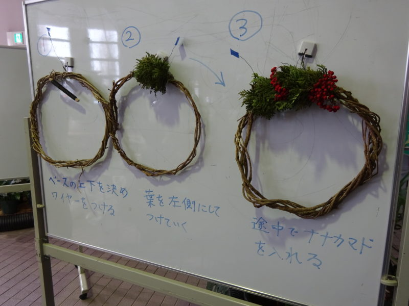 クリスマスリースづくりの流れ