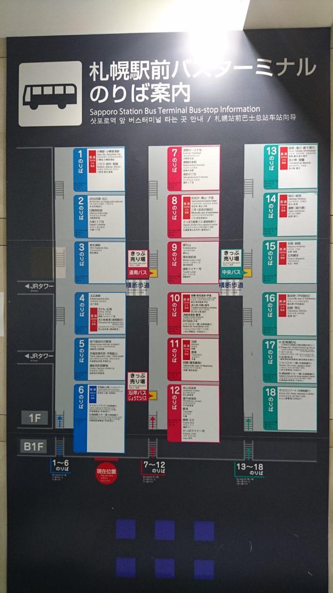 札幌駅前バスターミナル案内