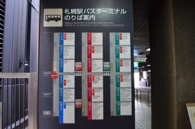 札幌駅前バスターミナルのりば案内