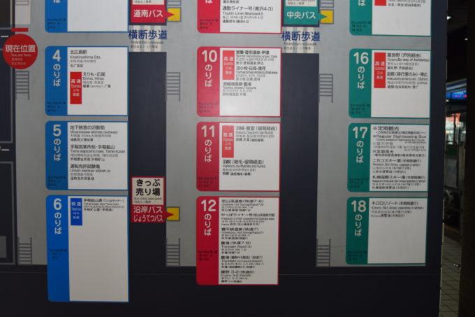 札幌駅バスターミナルのりば案内下段