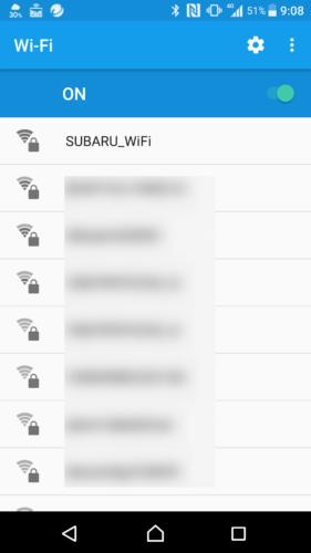 SSID「SUBARU_WiFi」を選択。
