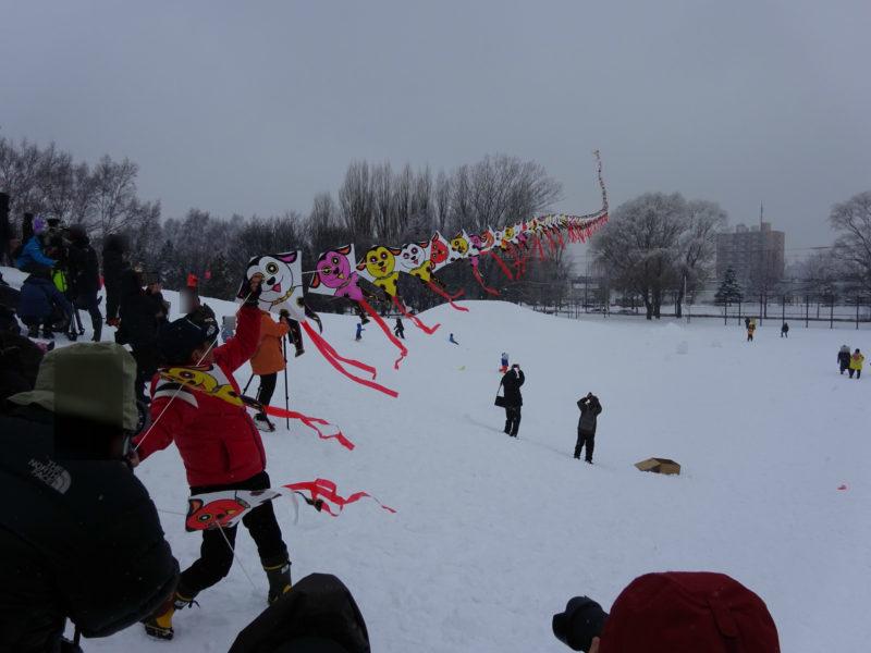凧100枚で全長100メートルの連だこ