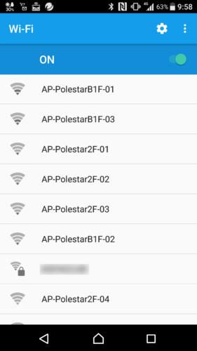 「AP-Polestar」から始まるSSIDを選択。