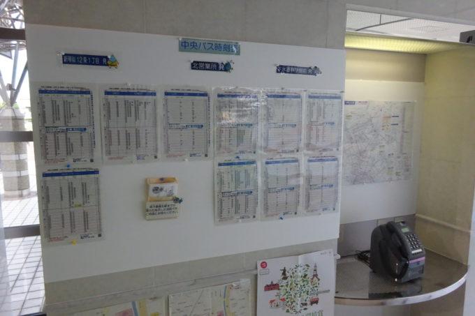 下水道科学館の周辺地図と中央バスの時刻表(新琴似12条1丁目発・北営業所発・下水道科学館前発)