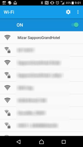 SSID「Mizar SapporoGrnadHotel」を選択。