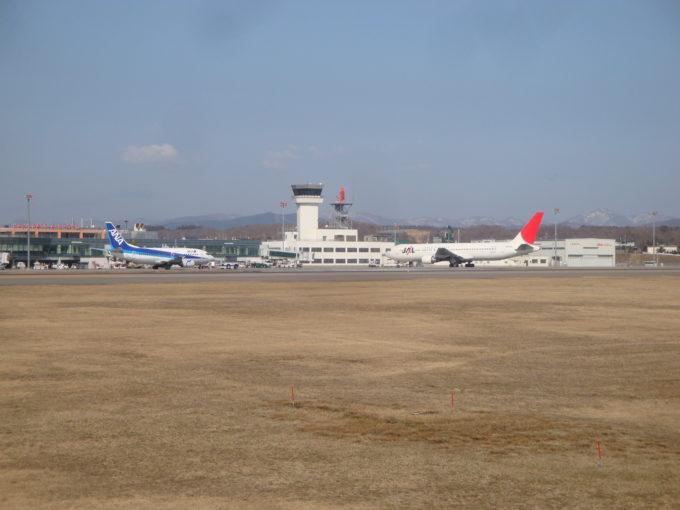 函館空港をバックにANA機とJAL機